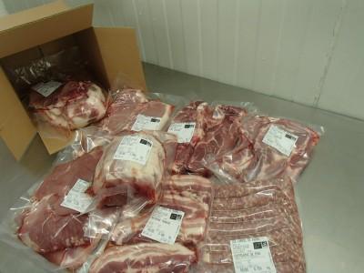 detail caissette viande porc